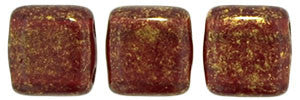 Czechmate 6mm Square Glass Czech Two Hole Tile Bead, Gold Marbled  Ruby - Barrel of Beads