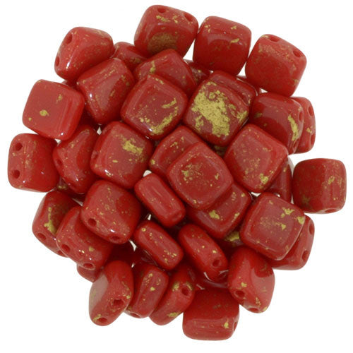 Czechmate 6mm Square Glass Czech Two Hole Tile Bead, Opaque Red/Marbled Gold - Barrel of Beads