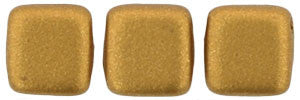 Czechmate 6mm Square Glass Czech Two Hole Tile Bead, Matte Metallic Goldenrod - Barrel of Beads