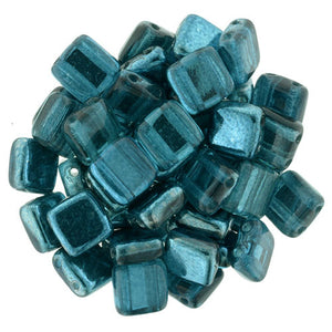 Czechmate 6mm Square Glass Czech Two Hole Tile Bead, Mirror Teal - Barrel of Beads