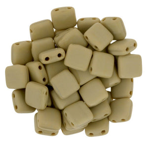 Czechmate 6mm Square Glass Czech Two Hole Tile Bead, Matte French Beige - Barrel of Beads