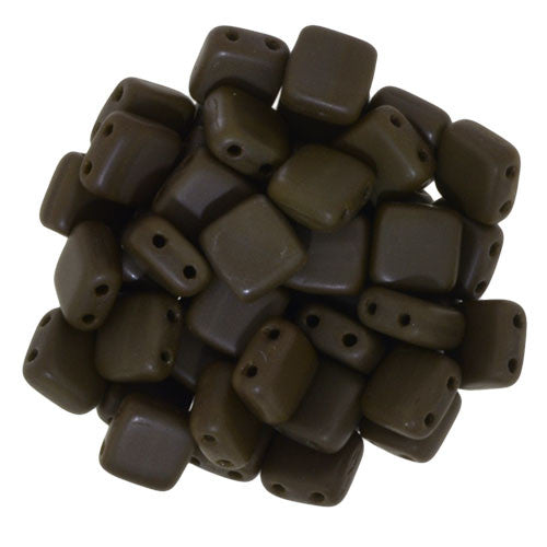 Czechmate 6mm Square Glass Czech Two Hole Tile Bead, Matte Chocolate Brown - Barrel of Beads