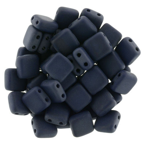 Czechmate 6mm Square Glass Czech Two Hole Tile Bead, Matte Navy - Barrel of Beads