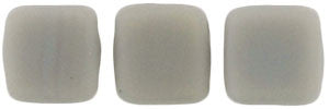 Czechmate 6mm Square Glass Czech Two Hole Tile Bead, Matte Ashen Grey - Barrel of Beads
