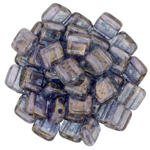 Czechmate 6mm Square Glass Czech Two Hole Tile Bead, Crystal - Moon Dust - Barrel of Beads
