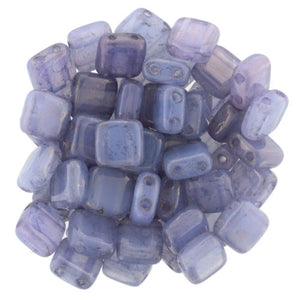 Czechmate 6mm Square Glass Czech Two Hole Tile Bead, Moon Dust/Milky Alexandrite - Barrel of Beads