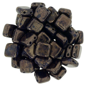 Czechmate 6mm Square Glass Czech Two Hole Tile Bead, Navy - Moon Dust - Barrel of Beads