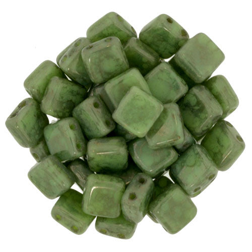 Czechmate 6mm Square Glass Czech Two Hole Tile Bead, Honeydew - Moon Dust - Barrel of Beads