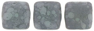 Czechmate 6mm Square Glass Czech Two Hole Tile Bead, Matte Opaque Pale Turq/Moon Dust - Barrel of Beads