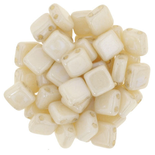 Czechmate 6mm Square Glass Czech Two Hole Tile Bead, Opaque Luster Champagne - Barrel of Beads