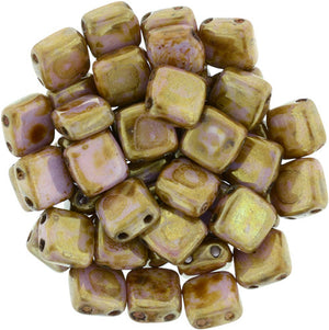 Czechmate 6mm Square Glass Czech Two Hole Tile Bead, Luster Opaque Rose/Gold Topaz - Barrel of Beads