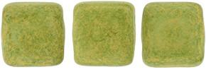 Czechmate 6mm Square Glass Czech Two Hole Tile Bead, Avocado Pacifica
