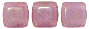 Czechmate 6mm Square Glass Czech Two Hole Tile Bead, Pink/Topaz Luster Milky Alexandrite - Barrel of Beads