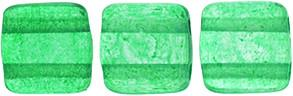 Czechmate 6mm Square Glass Czech Two Hole Tile Bead, Colortrends:Transparent Lush Meadow