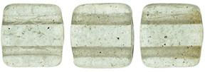 Czechmate 6mm Square Glass Czech Two Hole Tile Bead, Colortrends:Transparent Sharkskin
