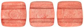 Czechmate 6mm Square Glass Czech Two Hole Tile Bead, Colortrends:Transparent Aurora Red