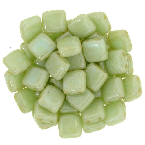 Czechmate 6mm Square Glass Czech Two Hole Tile Bead, Opaque Pale Turq/Star Dust - Barrel of Beads