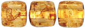 Czechmate 6mm Square Glass Czech Two Hole Tile Bead, Picasso Crystal - Barrel of Beads