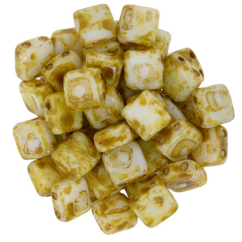 Czechmate 6mm Square Glass Czech Two Hole Tile Bead, Opaque White Picasso - Barrel of Beads