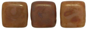 Czechmate 6mm Square Glass Czech Two Hole Tile Bead, Brown Caramel Picasso - Barrel of Beads
