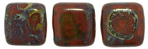 Czechmate 6mm Square Glass Czech Two Hole Tile Bead, Picasso Umber - Barrel of Beads