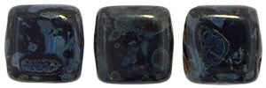 Czechmate 6mm Square Glass Czech Two Hole Tile Bead, Jet Picasso - Barrel of Beads