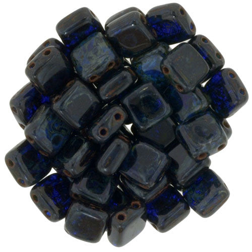 Czechmate 6mm Square Glass Czech Two Hole Tile Bead, Cobalt Picasso - Barrel of Beads