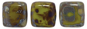 Czechmate 6mm Square Glass Czech Two Hole Tile Bead, Opaque Olive Picasso - Barrel of Beads
