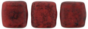 Czechmate 6mm Square Glass Czech Two Hole Tile Bead, Opaque Red/Black Picasso - Barrel of Beads