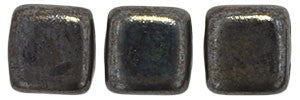 Czechmate 6mm Square Glass Czech Two Hole Tile Bead, Chocolate Brown - Luster Picasso - Barrel of Beads