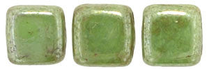 Czechmate 6mm Square Glass Czech Two Hole Tile Bead, Honeydew - Luster Picasso - Barrel of Beads