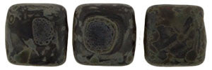 Czechmate 6mm Square Glass Czech Two Hole Tile Bead, Matte Jet Picasso - Barrel of Beads