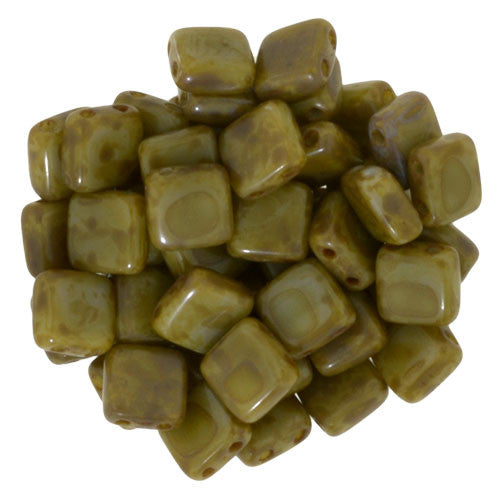 Czechmate 6mm Square Glass Czech Two Hole Tile Bead, Ash Grey - Matte Picasso - Barrel of Beads