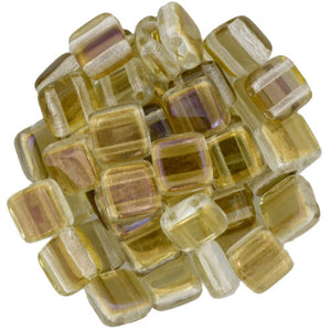 Czechmate 6mm Square Glass Czech Two Hole Tile Bead, Twilight Crystal - Barrel of Beads