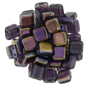 Czechmate 6mm Square Glass Czech Two Hole Tile Bead, Twilight Tanzanite - Barrel of Beads