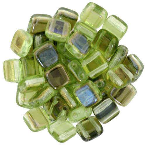 Czechmate 6mm Square Glass Czech Two Hole Tile Bead, Twilight Peridot - Barrel of Beads