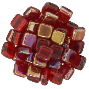 Czechmate 6mm Square Glass Czech Two Hole Tile Bead, Twilight Siam Ruby - Barrel of Beads