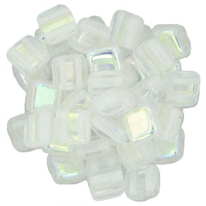 Czechmate 6mm Square Glass Czech Two Hole Tile Bead, Crystal Ab - Barrel of Beads