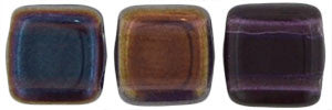 Czechmate 6mm Square Glass Czech Two Hole Tile Bead, Tanzanite Celsian - Barrel of Beads