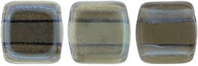 Czechmate 6mm Square Glass Czech Two Hole Tile Bead, Montana Blue - Celsian