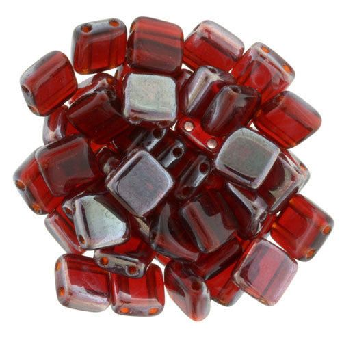 Czechmate 6mm Square Glass Czech Two Hole Tile Bead, Celsian Siam Ruby - Barrel of Beads