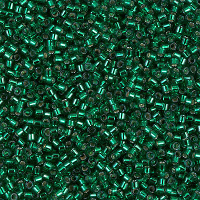 Miyuki Delica Bead 11/0 - DB0605 - Dyed Silver Lined Emerald - Barrel of Beads