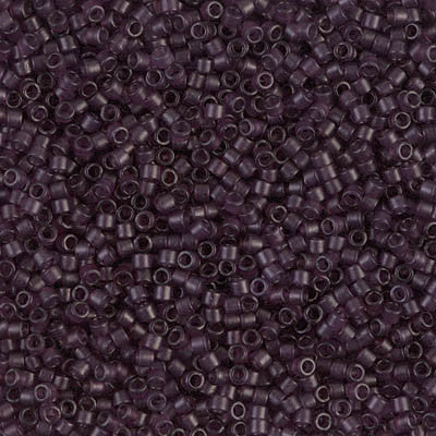 Miyuki Delica Bead 11/0 - DB0784 - Dyed Semi-Frosted Transparent Dark Smoky Amethyst - Barrel of Beads