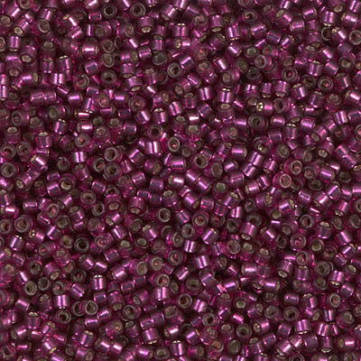 Miyuki Delica Bead 11/0 - DB1342 - Dyed Silver Lined Raspberry - Barrel of Beads