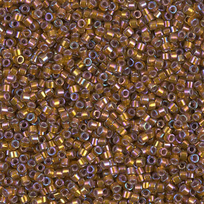 Miyuki Delica Bead 11/0 - DB1691 - Silver Lined Glazed Dark Saffron AB - Barrel of Beads