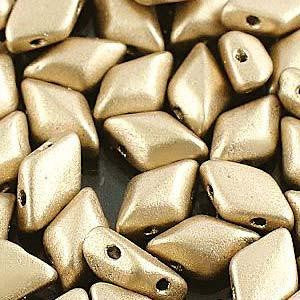 GemDuo 2-Hole Diamond Shaped Bead - Bronze Pale Gold  - GD0003-01710