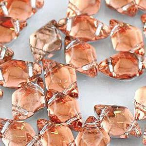 GemDuo 2-Hole Diamond Shaped Bead - Backlit Peach  - GD0003-27102