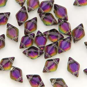 GemDuo 2-Hole Diamond Shaped Bead - Backlit Purple Haze  - GD0003-29532