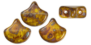 Ginko Beads, Opaque Yellow Picasso, 8 grams