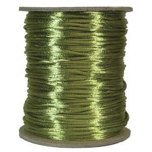 3mm Satin Rayon Rattail Cord, Avocado, by the yard - Barrel of Beads